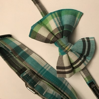 Turquoise Plaid Detachable Bowtie -  Small (collar sold separately)